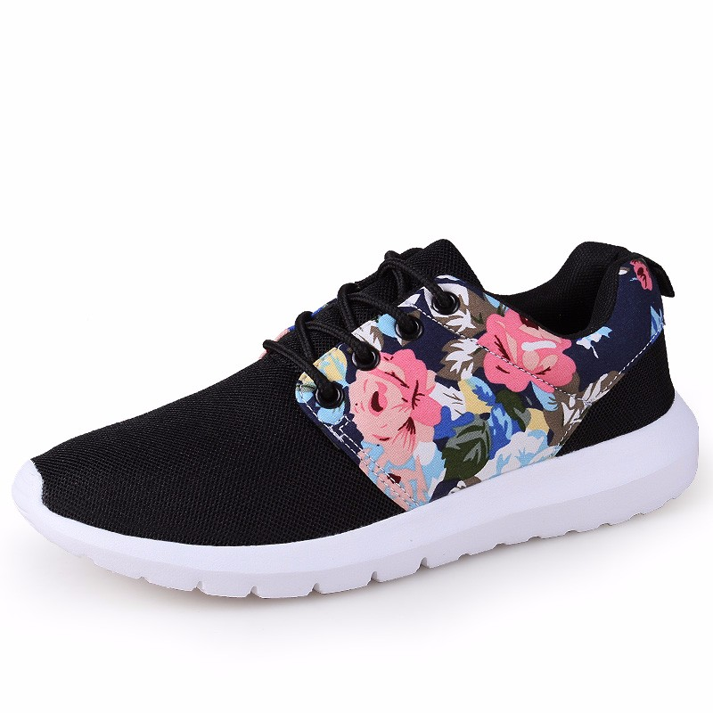 KUYUPP Fashion Breathable Print Flower Women Trainers Casual Shoes 2016 Summer Mesh Low Top Shoes Zapatillas Deportivas YD95 (43)