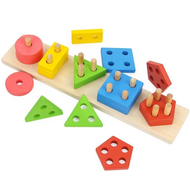baby spielzeug holz multicolor geometrische formen geh usefarbe formen kognitiven gepaart kinder. Black Bedroom Furniture Sets. Home Design Ideas