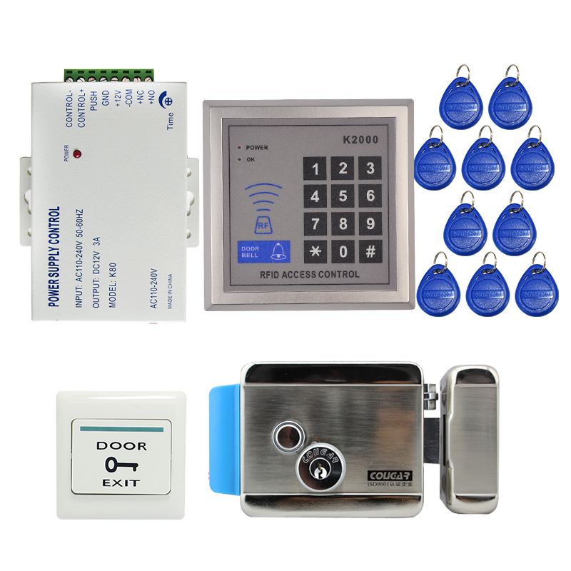 Brand New DIY RFID Door Access Control System Kit Set + NO Stainless Steel Electric Control Lock + Rfid Keypad + Free Shipping