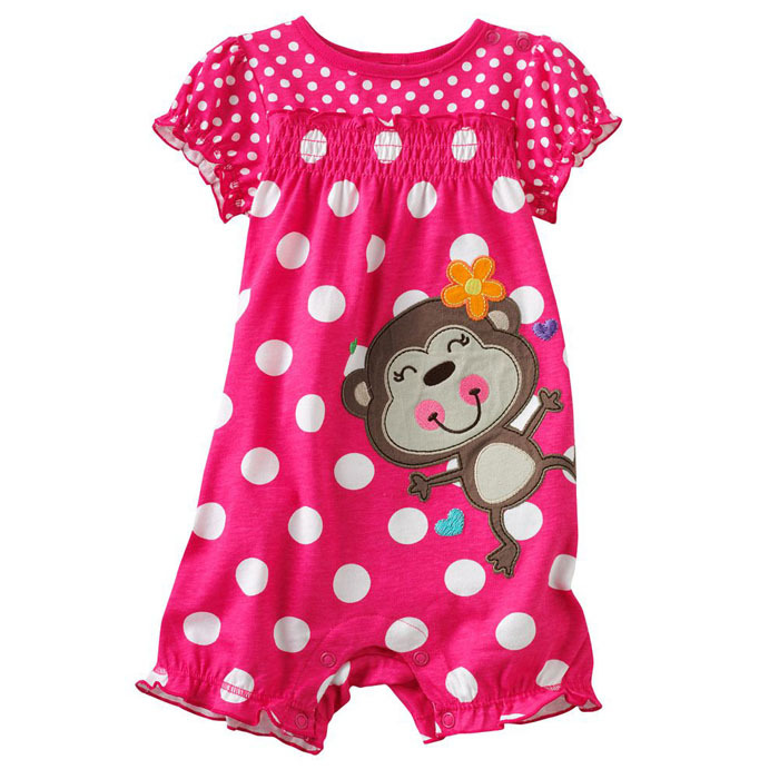 New 2017 Brand 100% Cotton Newborn Baby Girls Clothing Clothes Romper Creeper Jumpsuit Baby Rompers Girls Short Sleeve Ropa Bebe puseky 2017 infant romper baby boys girls jumpsuit newborn bebe clothing hooded toddler baby clothes cute panda romper costumes