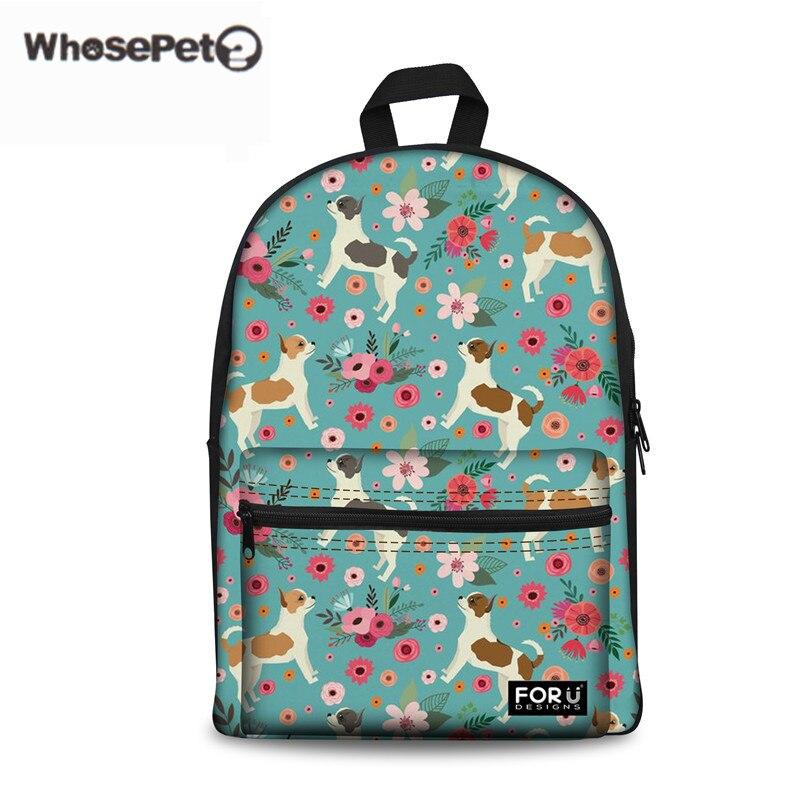 WHOSEPET Women Canvas Schoolbag Chihuahua Flower Printing School Backpacks For Children Girls Back Pack Mochila Escolar Infantil ...