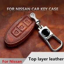 9593f5152ae Étui à clés en cuir véritable pour Nissan Qashqai J11 horizon Juke Alissa  x-trail T32 Murano Note Almera porte-clés de voiture