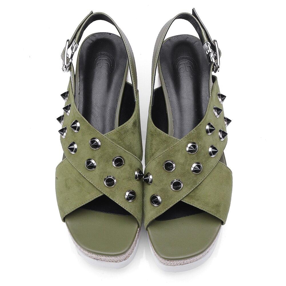 Gran Sandalias Plataforma Mujeres Gruesa Zapatos Calidad Negro Verano Cuñas 2019 Chico Moda Tamaño De Natural verde 34 Gamuza 42 Alta Mujer Sarairis nZFBYq8xw