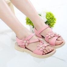 COZULMA Girls Sandals Summer Rhinestone Pearl Roman Shoes Kids Children Princess Beach