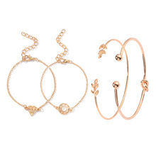 4PCS/Set Opening Leaf Cuff Bracelets Set Gold Alloy Bracelet Adjustable Bangle Women Boho Beach fashionJewelry