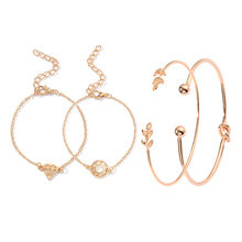 4PCS/Set Opening Leaf Cuff Bracelets Set Gold Alloy Bracelet Adjustable Bangle Women Boho Beach fashionJewelry(China)