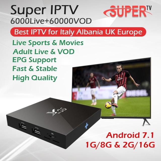 1 Year Super Italy IPTV X96 8G/16G Android 7.1 Smart TV BOX Europe UK Germany Albania IPTV Box Live+VOD Hotclub Adult IPTV Box