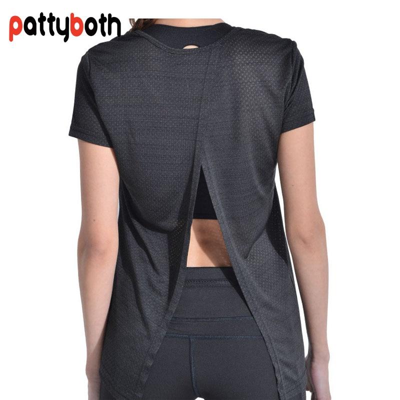 Patty Both Women Open Back Yoga Top Shirts Short Sleeves
