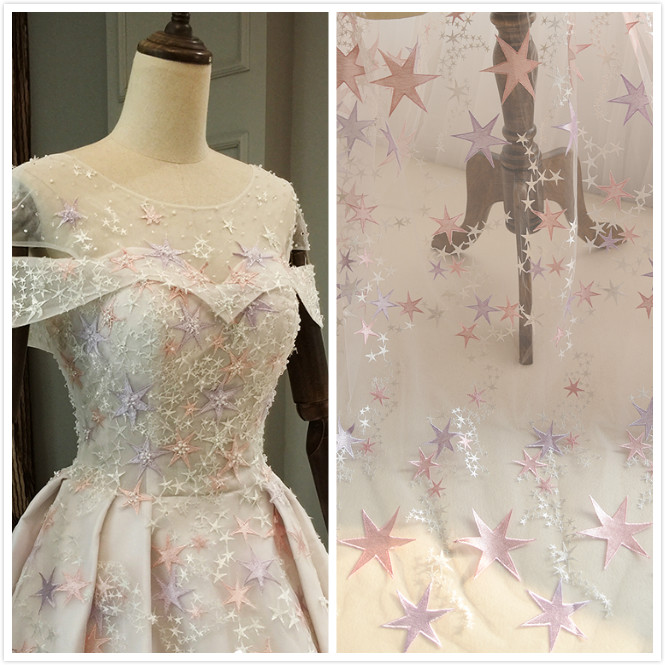 Detail Feedback Questions about Beautiful Wedding Dress Lace Fabric One  piece Cloth Classic Mesh Star Embroidered Lace Fabric DIY Material Width  145cm ... ed4704cd139e