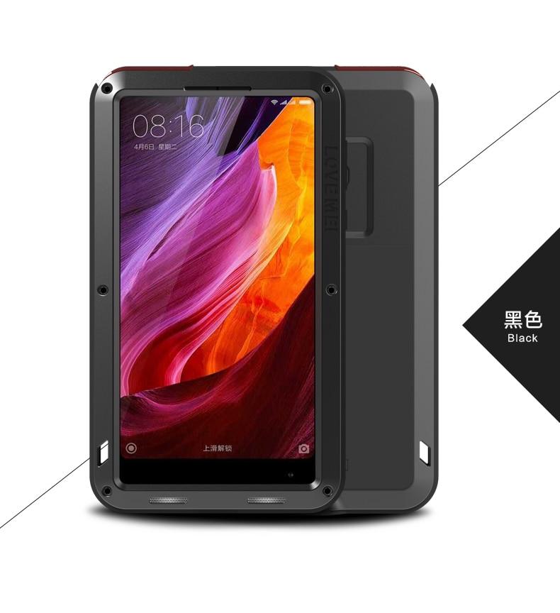 imágenes para Para Xiaomi mi Caso Mix Lovemei Armadura De Aluminio lite Impermeable A Prueba de Golpes de Metal + Gorilla Glass Para Xiaomi Mix Proteger caso