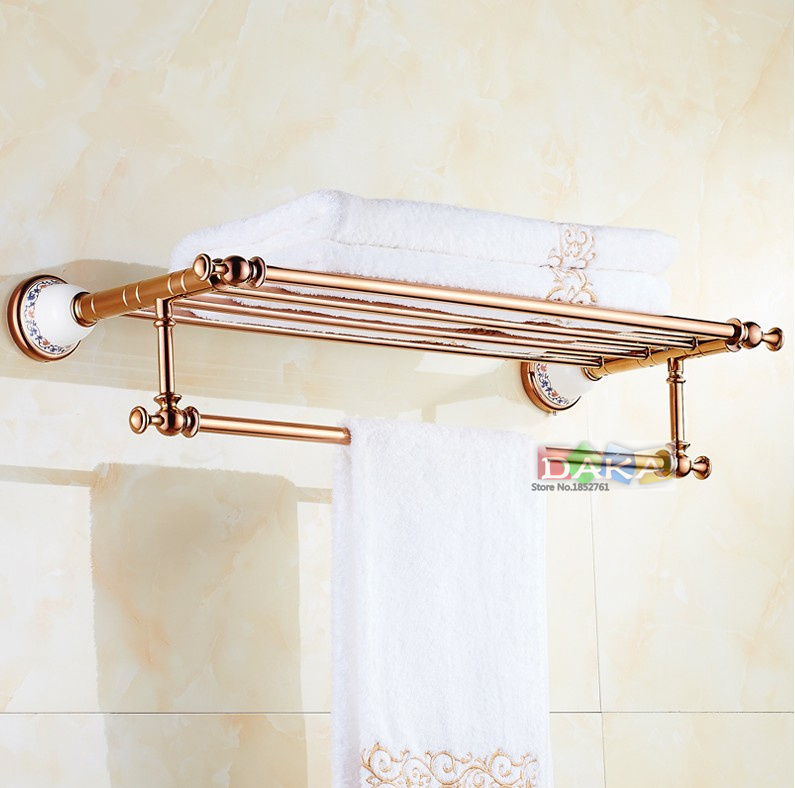 2016 Luxury Rose Gold Design Towel Rack,Modern Bathroom Accessories Towel Bars Shelf ,Ceramic Base Towel Holder /toalheiros