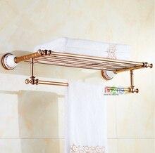 2016 luxury rose gold design towel rackmodern bathroom accessories towel bars shelf ceramic base towel holder toalheiros
