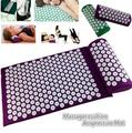 1 set Yoga Acupressure Cushion+pillow Body Pain Stress Relief Acupuncture Massage Spike Yoga Mat with Pillow Body Massager
