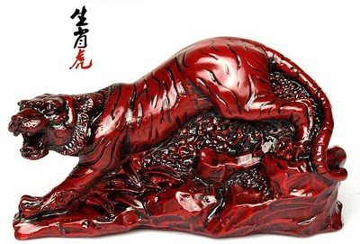 AA-3 Resin Home Creative As Gift Zodiac Tiger Light Red Wooden Ornaments Imitation Crafts Twelve Zodiac Decorations