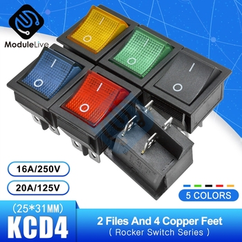 KCD4 Rocker Switch Power Touch On/off Switch 2 Positions 4Pins Feets Ship Type with light 16A 250V 30A 125V 25*31mm image