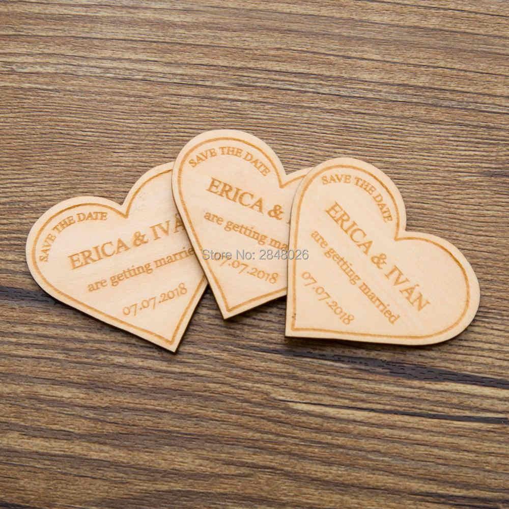 パーソナライズされたハートマグネット保存日付マグネット、木製保存日付、結婚式誕生日ベビーブライダルシャワーパーティーの好意ギフト