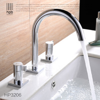 modern full copper brass European style split double the three basin faucet mixer tap chorme surface for bathroom
