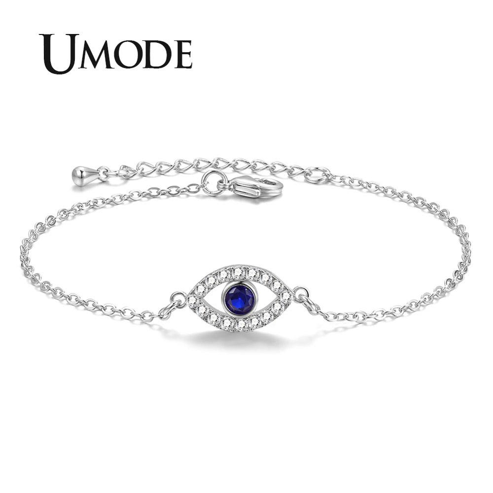 Collection Here Umode Fashion Blue Evil Eye Bracelets For Women Link Chain Crystal Silver Bracelet Luxury Jewelry Accessories Free Ub0166 Relieving Heat And Thirst. Chain & Link Bracelets Jewelry & Accessories