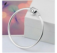 Homemade 925 Sterling Silver Bangle Crystal Heart Buckle Pandora Bracelet Beads Snake Chain For DIY Jewelry