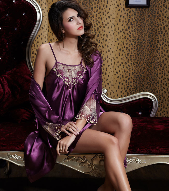 Red Purple sexy satin silk two piece nightclothes pajamas set womens robe  night gown lace big plus size 2XL XXL XL sleepwears-in Robe   Gown Sets  from ... ccd7cecf4