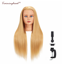 "Traininghead 26-28 ""Mannequin Head Syntetisk Långt Hår Golden Wig Frisyrer Kosmetologi Frisör Bride Training Head Female"