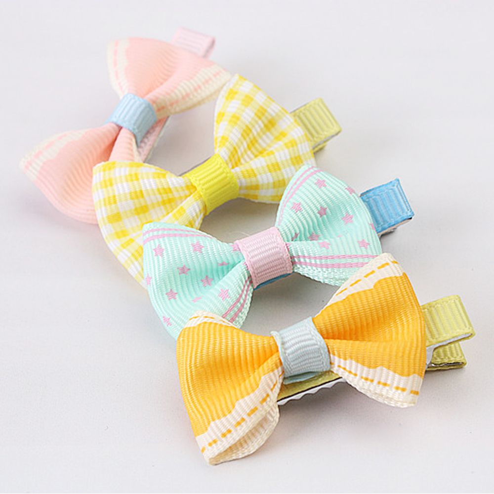 5pcs Color Random Dog Kitten Puppy Cute Pet Grooming Floral Solid Cotton Bow Flower Hairpins Butterfly Hair Clips Hair Barrette #4