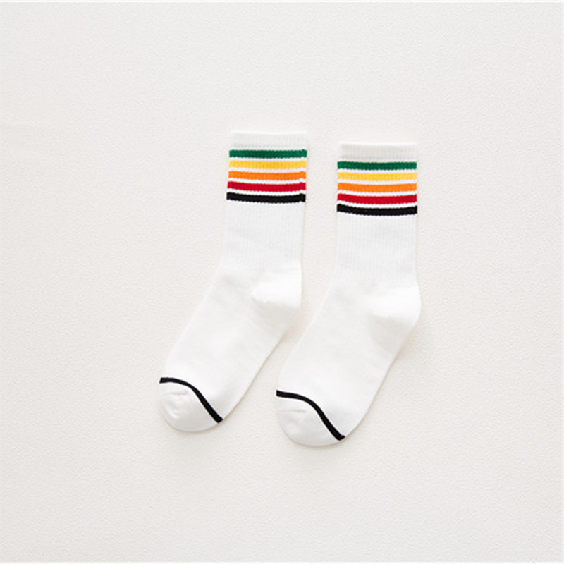 Harajuku Street Rainbow Striped Socks Women White Black Gray Cotton Compression Socks Ladies Art Socks Winter warme sokken