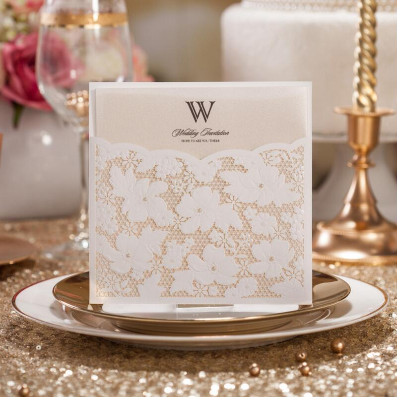 50pcs/pack Laser Cut Wedding Invitations Cards Customized Lace Birthday Invited for Engagement Marriage Graduation Anniversary