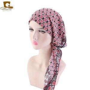 Image 1 - Hồi giáo Trước Buộc Khăn Hóa Trị Beanies Bonnet Mũ Lưỡi Trai Nữ In Hoa Mềm Mại Băng Đô Cài Tóc Turban Gọng Mũ Khăn Trùm Đầu Bọc Ung Thư Phụ Kiện Tóc