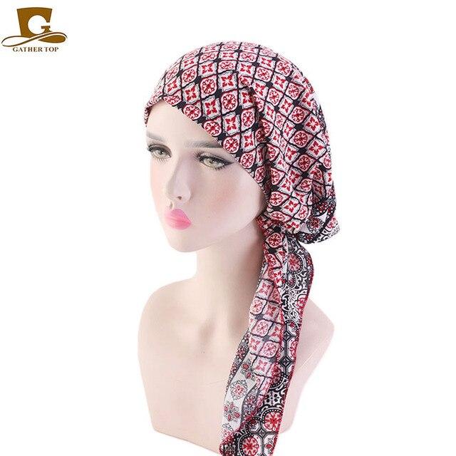 Hồi giáo Trước Buộc Khăn Hóa Trị Beanies Bonnet Mũ Lưỡi Trai Nữ In Hoa Mềm Mại Băng Đô Cài Tóc Turban Gọng Mũ Khăn Trùm Đầu Bọc Ung Thư Phụ Kiện Tóc