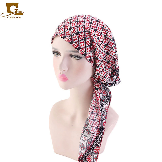 Müslüman Ön Tied Eşarp Kemo Kasketleri Bonnet Kapaklar Kadın Baskı Çiçek Yumuşak Türban Şapka Başörtüsü Wrap Kanser saç aksesuarları