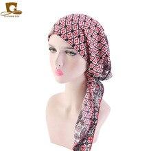 Muzułmańskie wstępnie związany szalik Chemo czapki czapki z daszkiem kobiety kwiat wydruku miękkie Turban kapelusz chustka na głowę Wrap raka akcesoria do włosów