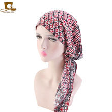 Touca de cachecol muscular pré amarrado, gorro de cachecol com estampa de flor, macia, para mulheres, acessórios para cabelo