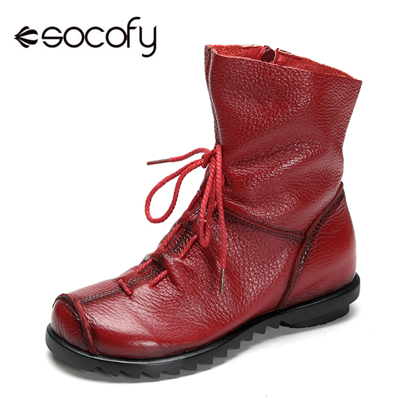 Socofy Big Size PU Leather Ankle Boots Women Shoes Autumn Winter Ladies Shoes Woman Zipper Motorcycle Women Boots Botas Mujer ankle boots women black pu leather extreme high heels zipper autumn brand platform women s shoes motorcycle boots botas mujer