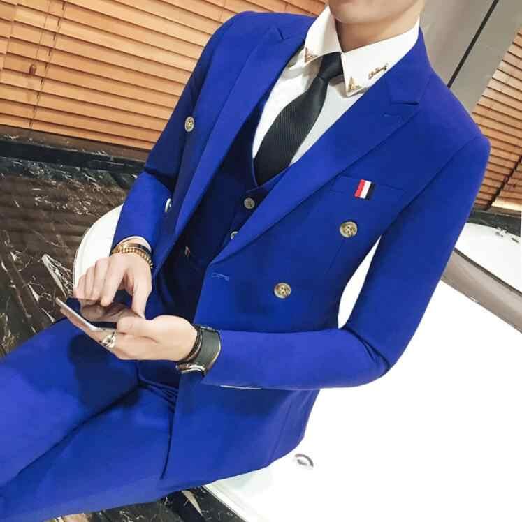 赤、黒のダブルブレストホワイトウェディングスーツ衣装オムマリアージュ男性タキシード Vestito ウォモ喫煙 Terno スリムスリムフィットロイヤルブルー 3xl
