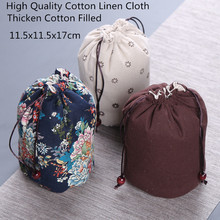 Portable Round Big Cotton Linen Drawstring Bag Travel Jewelry Pouch Tea Pot cup Protective Trinket Gift Packaging Bags