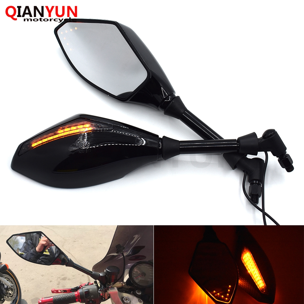 Motorcycle Driver and Passenger Side Mirrors with Led Turn Signals 10MM