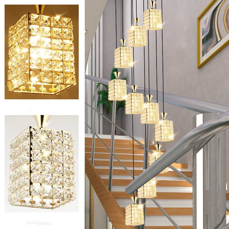 Custom stair long Pendant Lights duplex building villa living room European stairwell rotating American crystal lamp wf4281119
