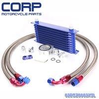 Universal 10 Row JDM Engine Oil Cooler Kit + Sandwich Plate + AN10 Oil Lines Kit