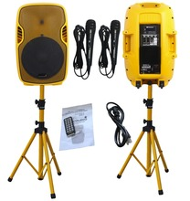 STARAUDIO  Pair Yellow 15″ 3500W 2-way Powered Active PA DJ Stage USB SD FM BT Speakers W/ Stands Microphones