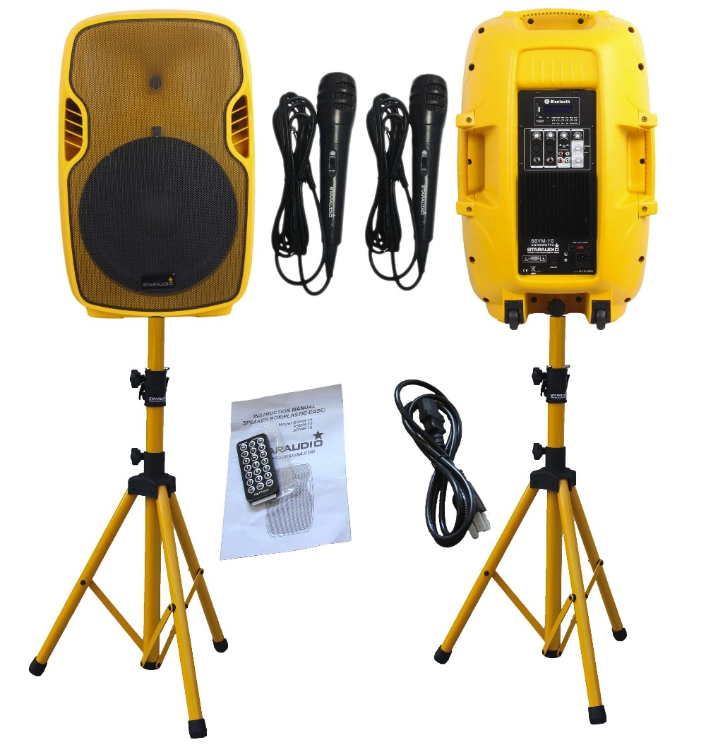 STARAUDIO Pair Yellow 15 3500W 2-way Powered Active PA DJ Stage USB SD FM BT Speakers W/ Stands Microphones