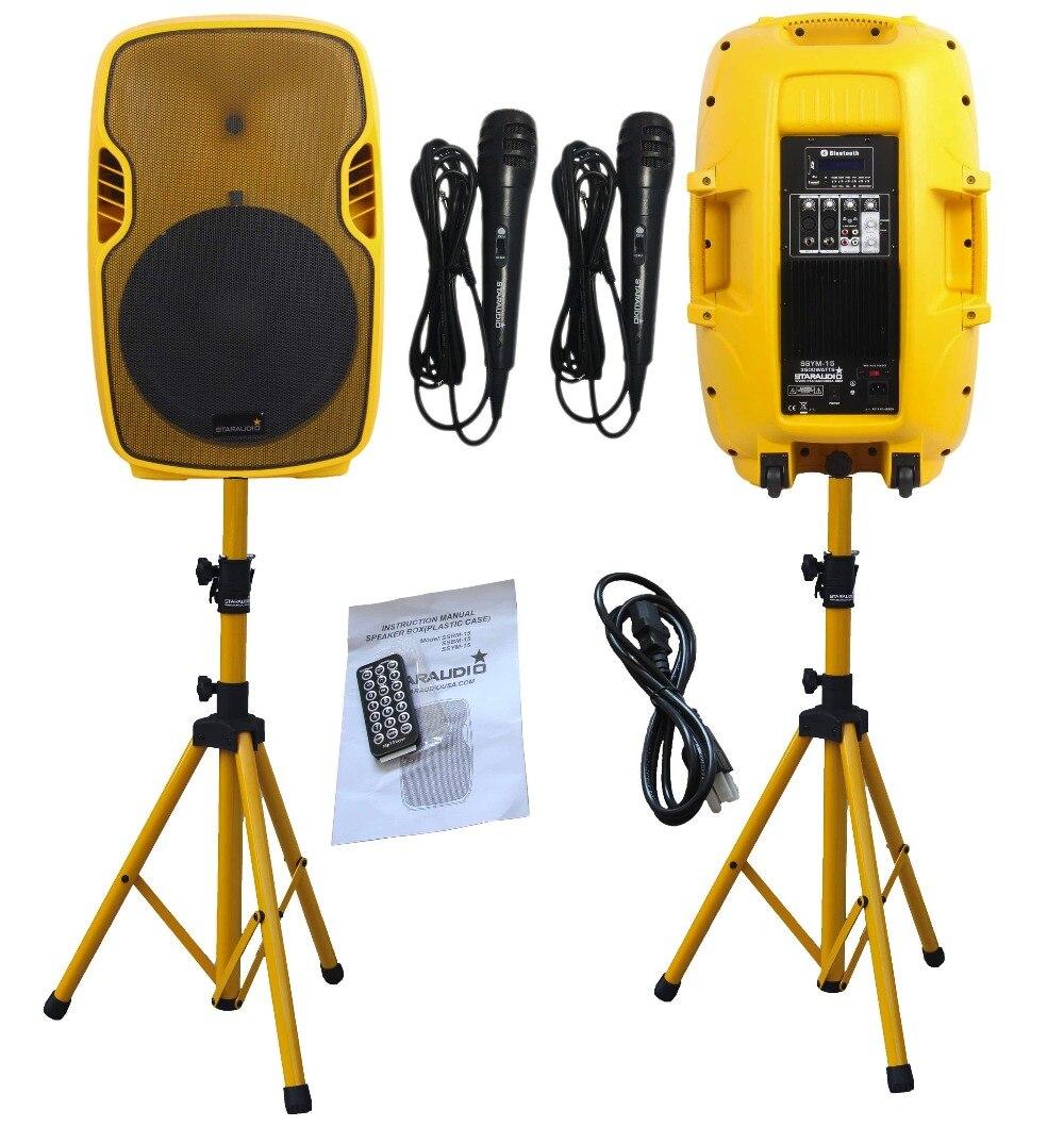 Staraudio пара желтый 15 3500 Вт 2-способ работает активный PA DJ этап USB SD FM BT Колонки w/Подставки Микрофоны
