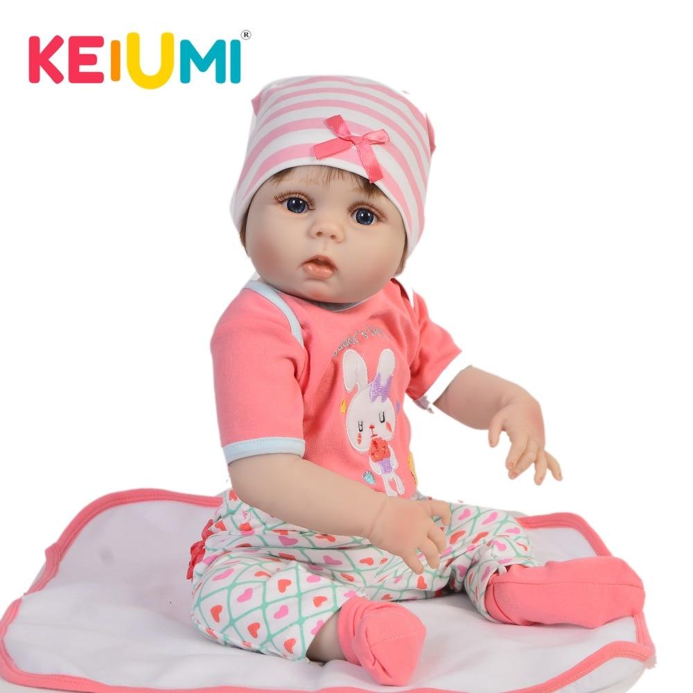 Lifelike 23'' Reborn Baby Girl Lovely 57 cm Full Silicone Reborn Dolls Babies Vinyl Washable Bebe Toys For Kids Birthday Gifts-in Dolls from Toys & Hobbies    1