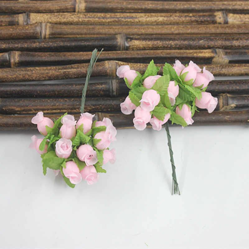 1 pcs vintage wedding เจ้าสาวทับทิม rose bouquet การจำลองดอกไม้ผ้าไหมดอกไม้