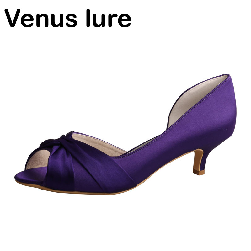 Purple Wedding Heel.Us 38 1 16 Off Aliexpress Com Buy New Design Purple Wedding Dresses For Women Low Heel Prom Court Shoes Peep Toe From Reliable Women S Pumps