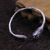 high quality 925 silver pure handmade bracelets simple Female jewelery lotus flowers shape size can be adjust girls lovers gift