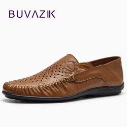 2018 الصيف حذاء كاجوال للرجل تنفس ومريحة جلد طبيعي الانزلاق على أحذية بدون كعب أنيقة اليدوية كبيرة الحجم 39-46