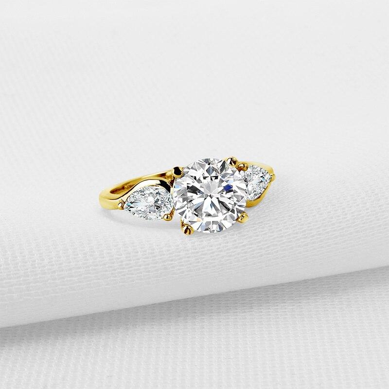AINUOSHI Luxus 3 Stein Runde Ring 14K Solide Gelb Gold Band Brilliant Birne Cut Simulierten Frauen Hochzeit ring-in Ringe aus Schmuck und Accessoires bei  Gruppe 3