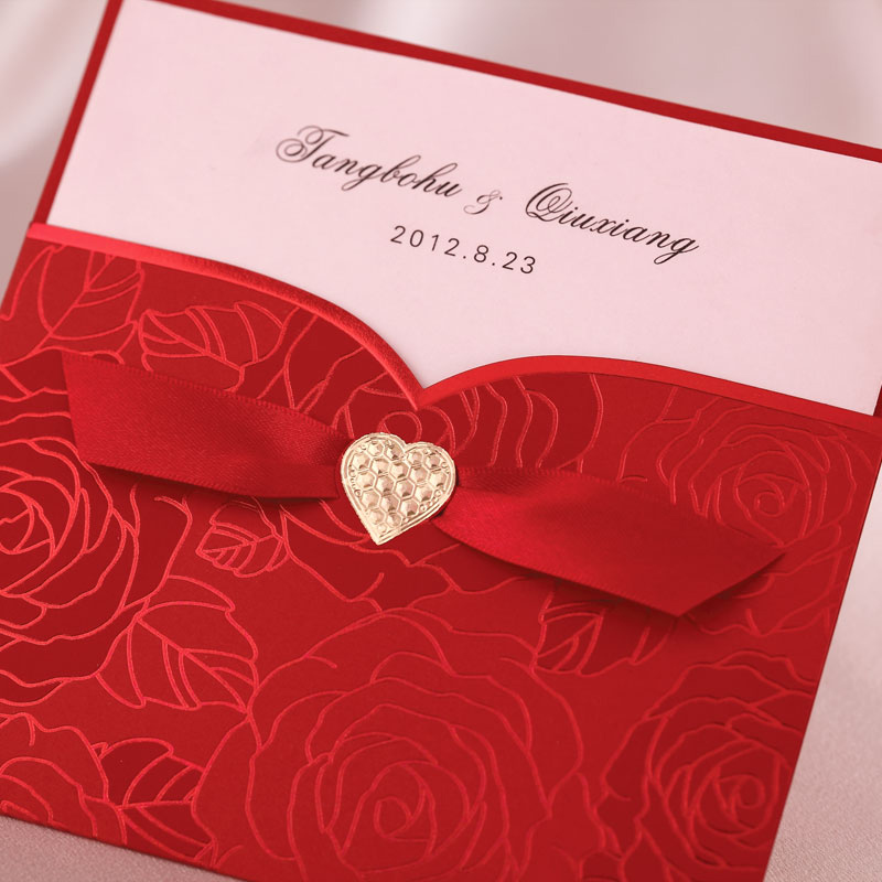 Chinese Red Heart Ribbon Birthday/Business Wedding Invitation Card ...
