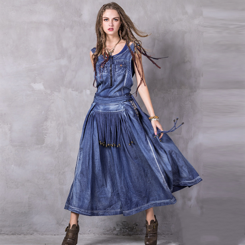 New Summer Sexy women s dress office lady strap zipper denim dress vintage embroidery large size